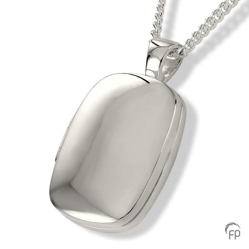 Fingerprint assieraad zilver medaillon met askamer