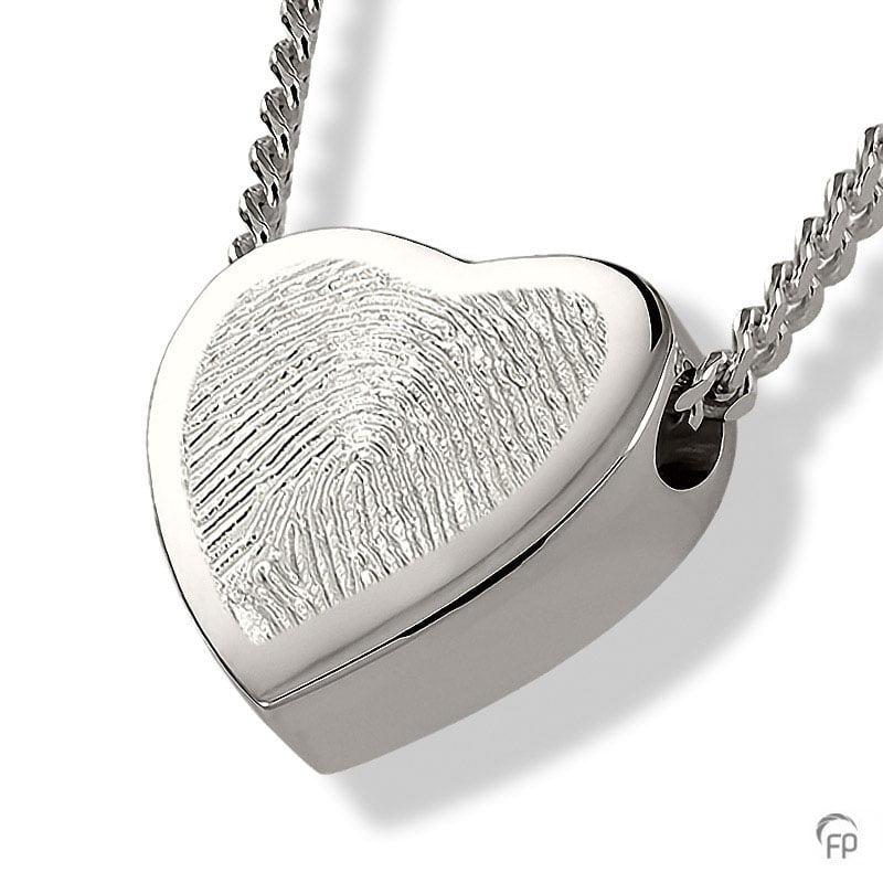 Fingerprint assieraad zilver hart met askamer