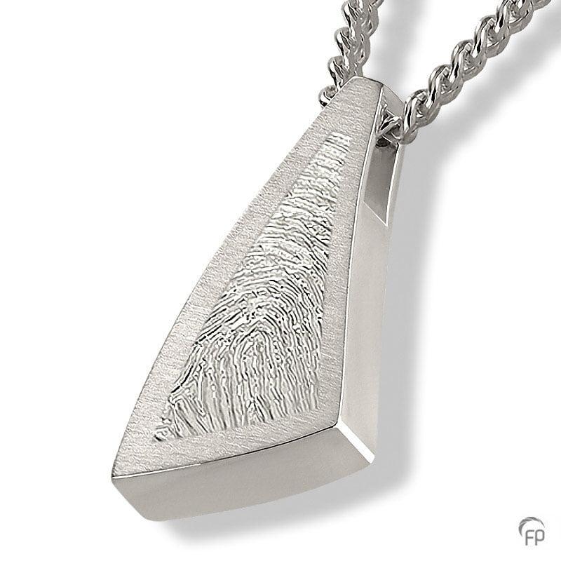 Fingerprint assieraad zilver triangel met askamer