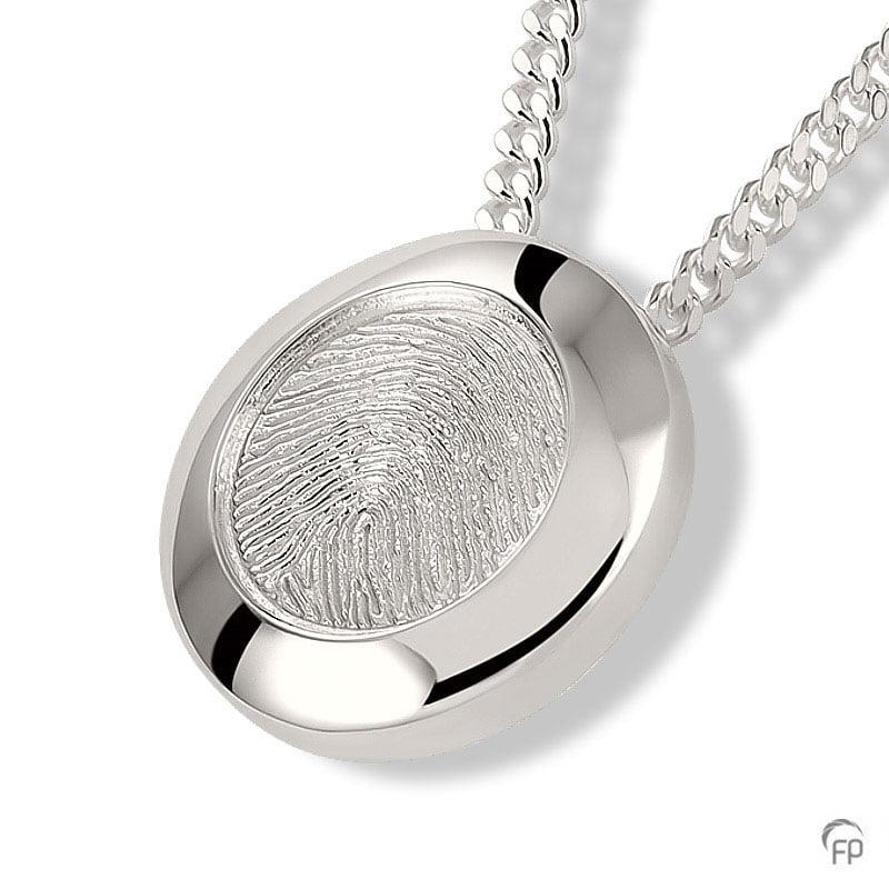 fingerprint assieraad zilver cirkel met askamer