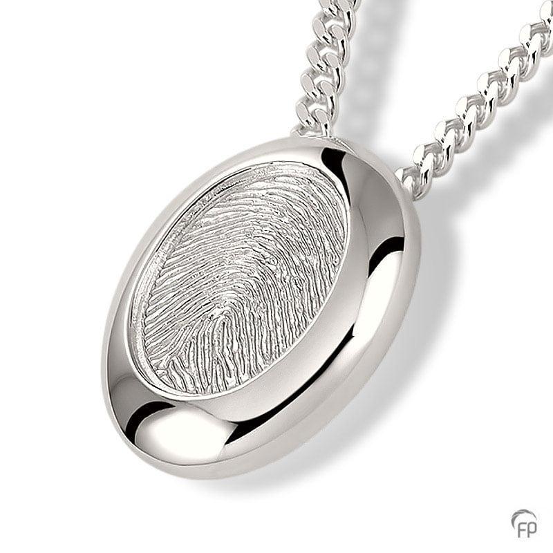 fingerprint assieraad zilver verdiept ovaal met askamer