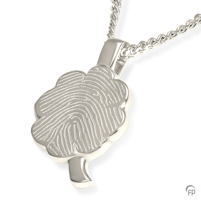 fingerprint assieraad zilver klavertje vier plat