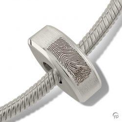 fingerprint assieraad zilver memorial bead rond smal met askamer