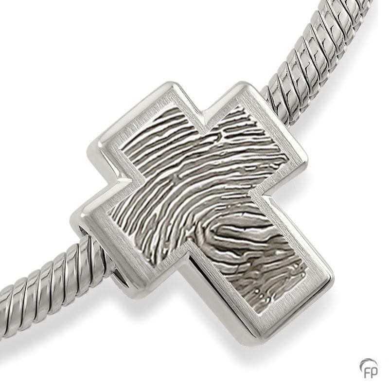 fingerprint assieraad zilver memorial bead kruis met askamer
