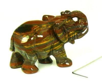 mini urn Olifant tijgerijzer, gemaakt van edelsteen