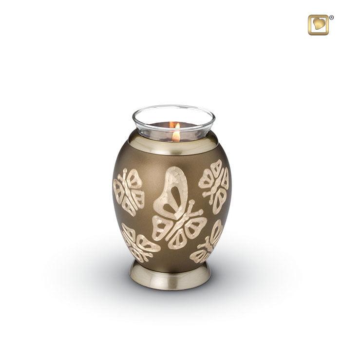 urn messing bruin met vlinders