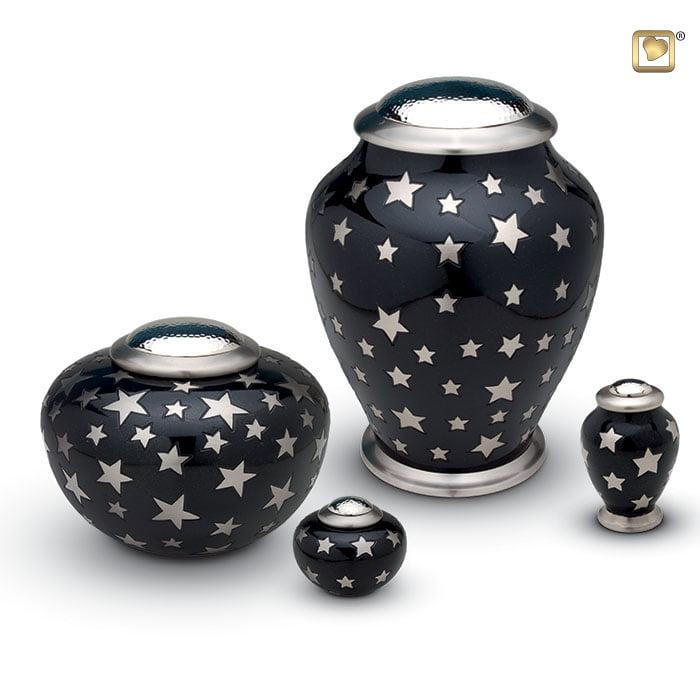 urn messing zwart met zilverkleurige sterren