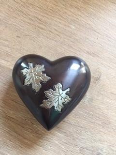 mini urn hart SALE zwart blaadjes