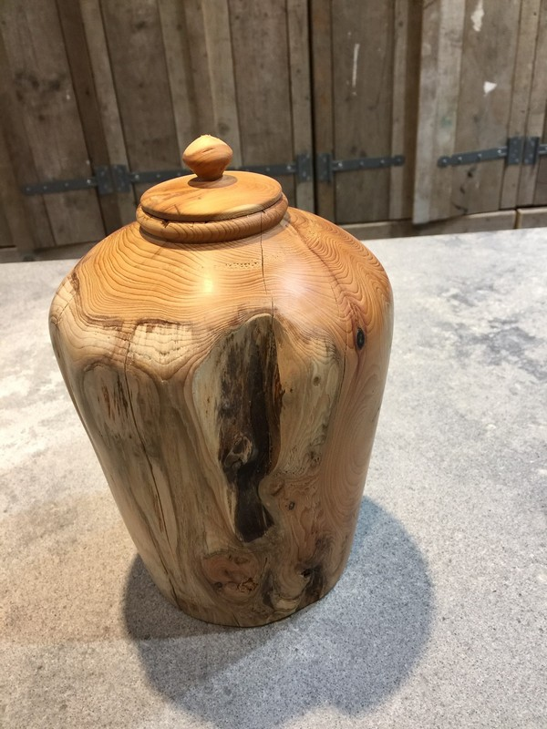 houten natuur urn taxus groot
