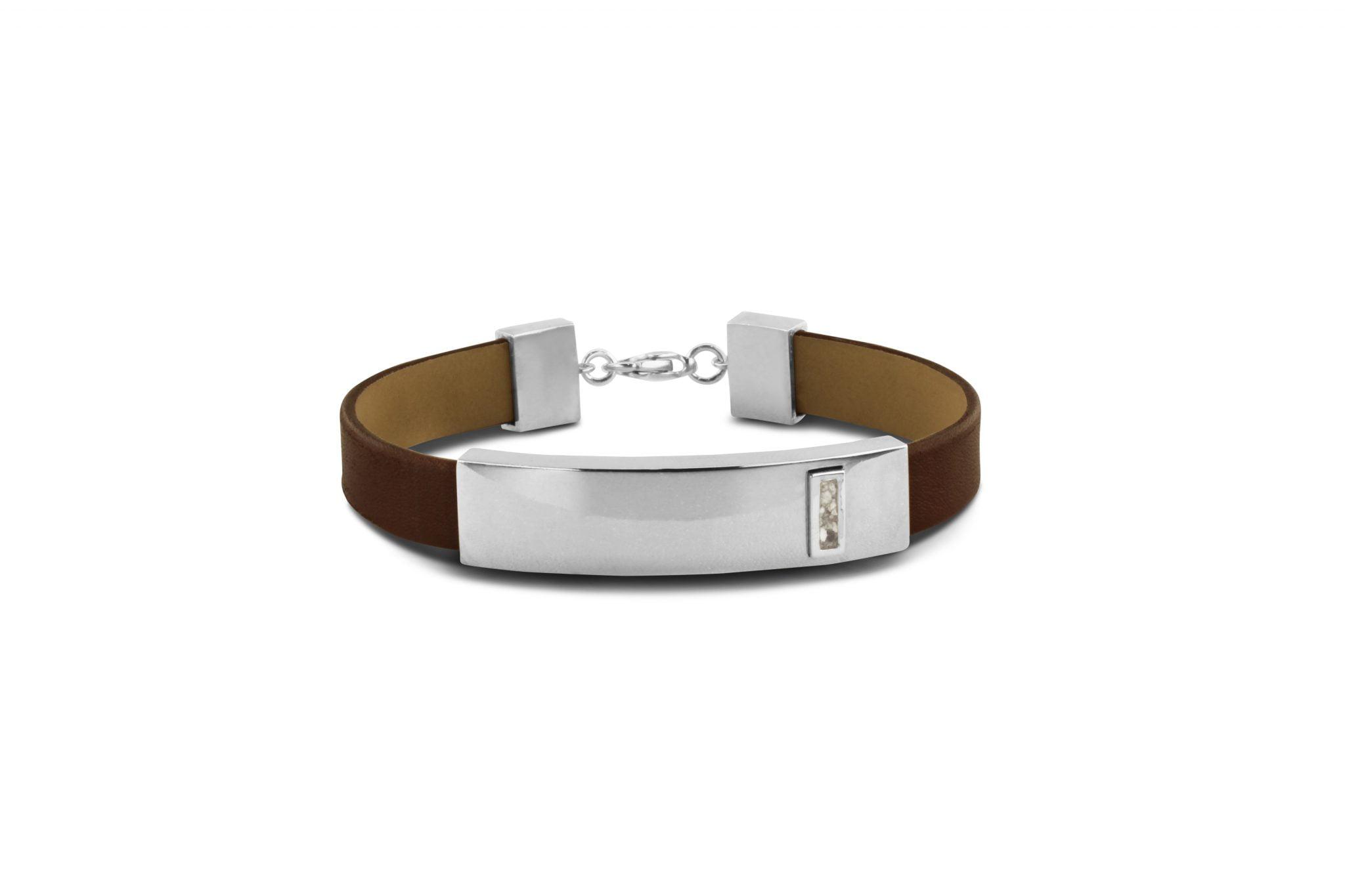 gedenksieraad armband met lederen bandje BG 010