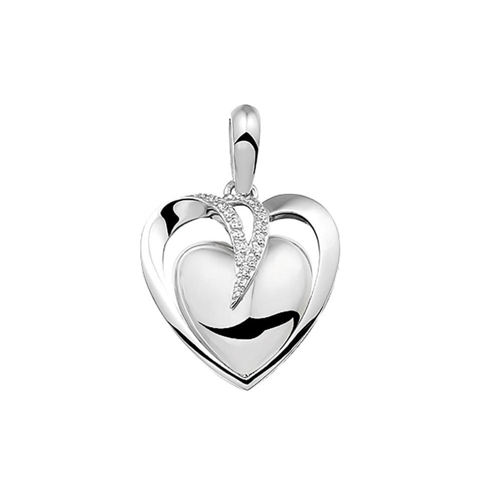 hart hanger 110 SC zilver met zirkonia