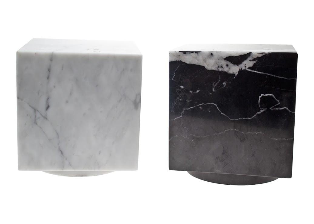 Marmer urn vierkant carrara en Nero Marquina