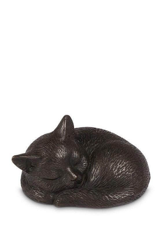 slapende poes in brons mini urn