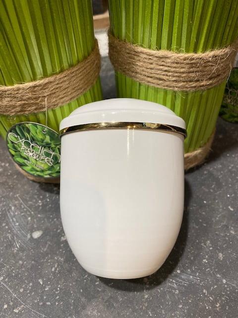 aluminium mini urn wit met gouden bies