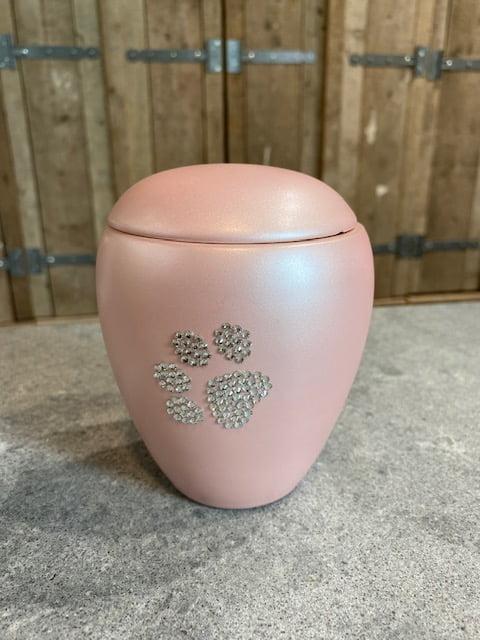 dieren urn roze pootje strass