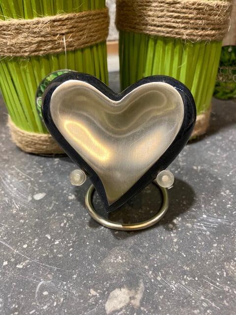 mini urn hart zwart zilver messing