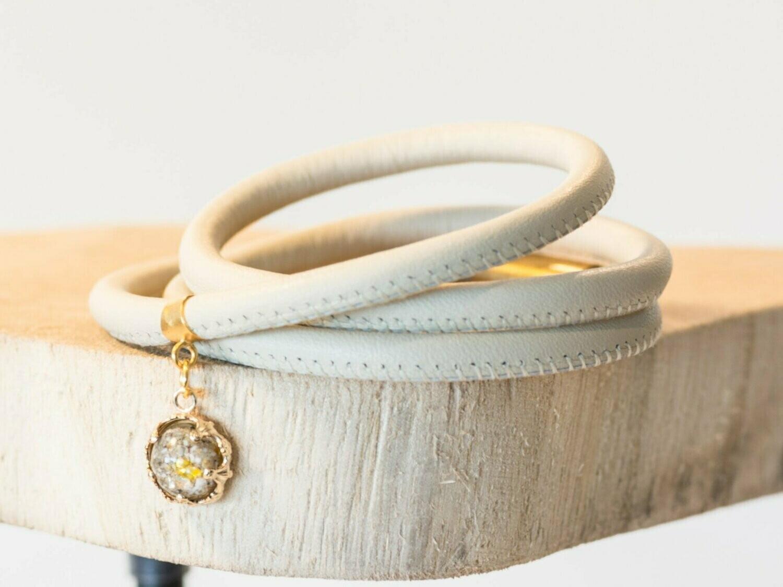 nappa leer wikkelarmband met vulbare bead