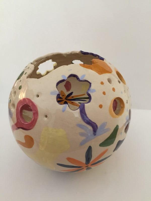 windlicht urn flowers keramiek