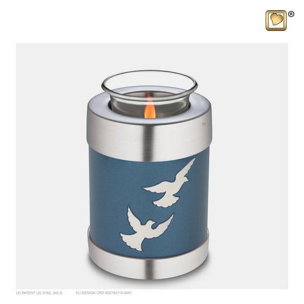 blauwe vogel windlicht urn Adieu Nirvana Collection